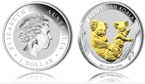 Australian Koala Gilded Silver Coin (Perth Mint images)