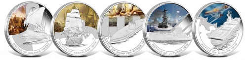 Famous Naval Battle Silver Proof Coins (Perth Mint images)