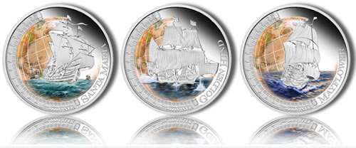 Ships That Changed The World Silver Proof Coins (Perth Mint images)