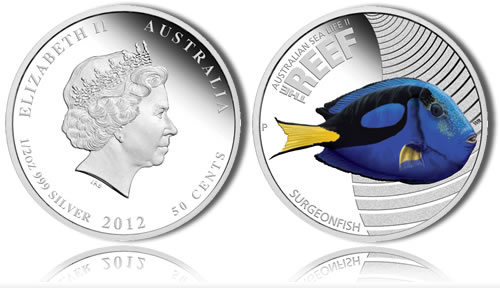 Surgeonfish Silver Proof Coin (Perth Mint images)