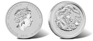 Year of the Dragon Silver Bullion Coins (Perth Mint images)