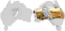 Australian Map Shaped Kookaburra Silver Coin