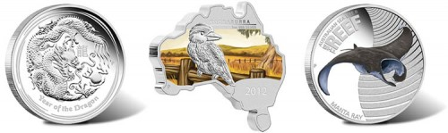 June 2013 Australian Silver Coins Depicting Dragon, Kookaburra and Manta Ray