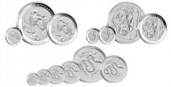 2013 Australian Silver Bullion Coins depicting Kookaburra, Koala and Year of the Snake