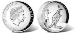 Australian Kangaroo High Relief Silver Coin