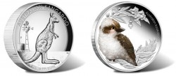 Two of the three Australian silver coins released in July 2012 by the Perth Mint of Australia are the Kangaroo Silver Proof High Relief Coin and the Bush Baby Kookaburra Silver Coin