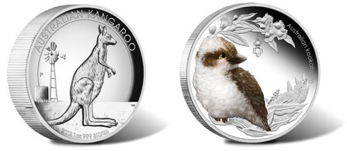 Australian Kangaroo Silver Proof High Relief Coin and Bush Baby Kookaburra Silver Coin