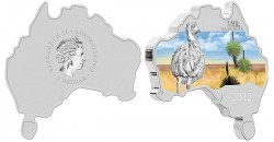 Australian Map Shaped Emu Silver Coin