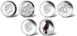 The Perth Mint released several Australian silver coins in September 2012. The above coins depict a koala, snake and red-tailed black-cockatoo.